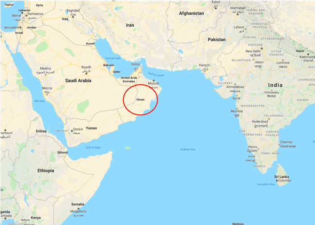 Location of Oman. Image: Google Maps.